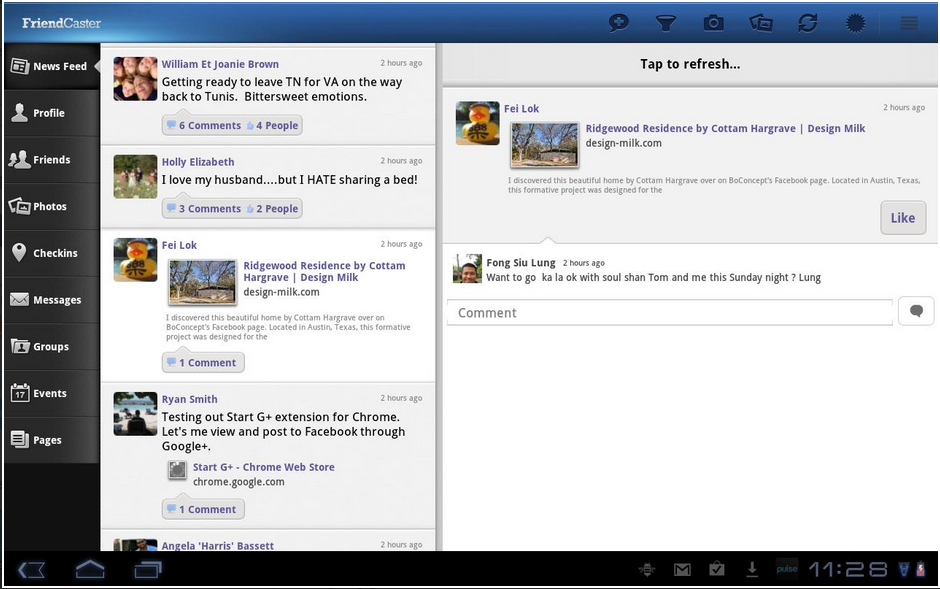 facebook application for honeycomb tablet
