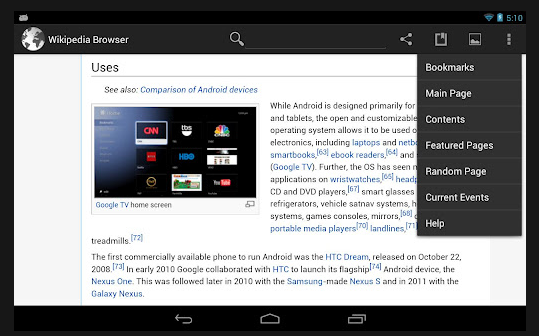 wikipedia android tablet app
