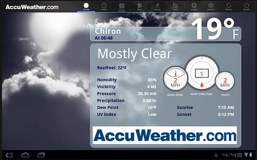 accuweather ICS tablet app