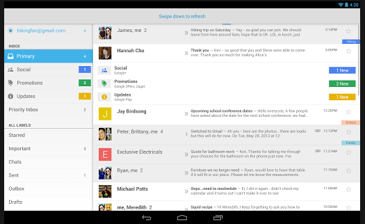gmail for android tablet