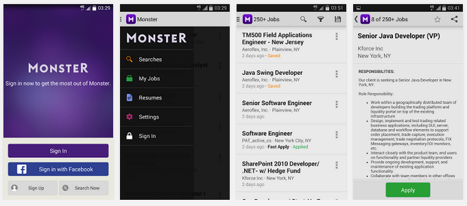 monster andoid app job search